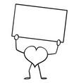 heart love symbol cartoon character holding vector image