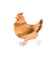hen standing near egg vector image