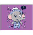 hipster elephant cartoon t shirt design vector image vector image