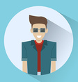 Man Smiling Round Icon vector image