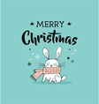 Merry Christmas greeting cards with bunny vector image