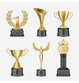 metal award cup icon set vector image vector image