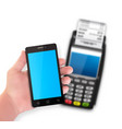 mobile payment trough pos terminal vector image vector image