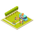 neighborhood party in the park with burgers vector image vector image