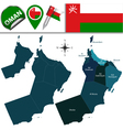 Oman map with named divisions vector image vector image