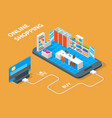 online mobile shopping concept 3d isometric view vector image vector image