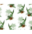 palm trees and coconut floral seamless pattern vector image
