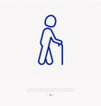 person with stick sign elderly man thin line icon vector image vector image