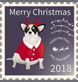 postage stamp with chihuahua 2 vector image vector image