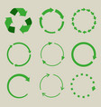recycled symbol arrows icon set vector image