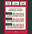 red and bold festival flyer template vector image vector image