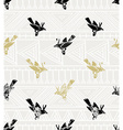 seamless pattern linocut style with birds and vector image vector image