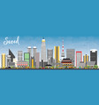 seoul korea skyline with color buildings and blue vector image vector image