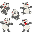 set of Funny Panda Bear Cartoon vector image vector image