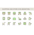 shopping and store front icon set design 48x48 vector image