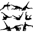 Silhouettes breakdancer on a white background vector image vector image
