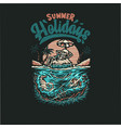 skeleton summer beach t shirt graphic design vector image