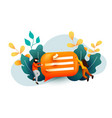 small people flying around chat bubble talking vector image vector image