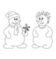snowballs with bouquet contours vector image