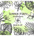 summer party invitation tropical leaves trendy vector image vector image