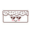 sweet and delicious cake kawaii character vector image vector image