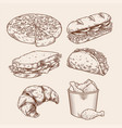 vintage fast food hand drawing set vector image vector image