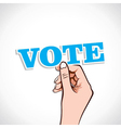 Vote text in hand vector image
