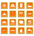 water icons set orange vector image vector image