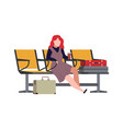 woman in airport arrival waiting room vector image