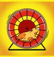 hamster in the wheel pop art vector image