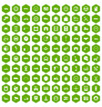 100 garage icons hexagon green vector image vector image
