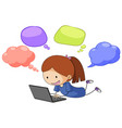 a girl with speech balloon vector image vector image