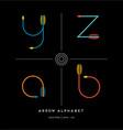 archery arrows letters z y a b vector image vector image