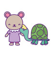 bashower cute little female bear and turtle vector image vector image