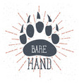 bear claw bear footprint with lettering bare hand vector image vector image