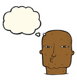 cartoon bald tough guy with thought bubble vector image