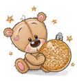 cartoon teddy bear with a christmas toy on a vector image vector image