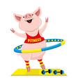 cheerful pink pig with hula hoop vector image vector image