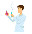 chemist in work robe with two flasks full of vector image vector image