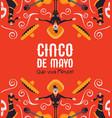 cinco de mayo card mexican mariachi and catrina vector image vector image