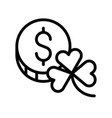 coin with clover feast of saint patrick line icon vector image vector image