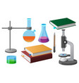 coursebooks and scientific tools vector image vector image