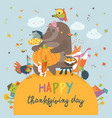 Cute animals celebrating thanksgiving day