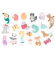 cute funny kawaii animals flat style vector image