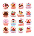 dessert cackes icons for bakery shop cafe vector image vector image