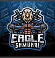 eagle samurai esport mascot logo vector image