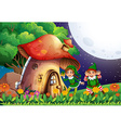 Elf and house vector image vector image