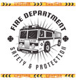 fire truck retro emblem for fire department vector image vector image