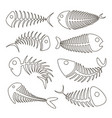 fishbone set icons vector image vector image