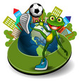 frog with ball and globe vector image vector image